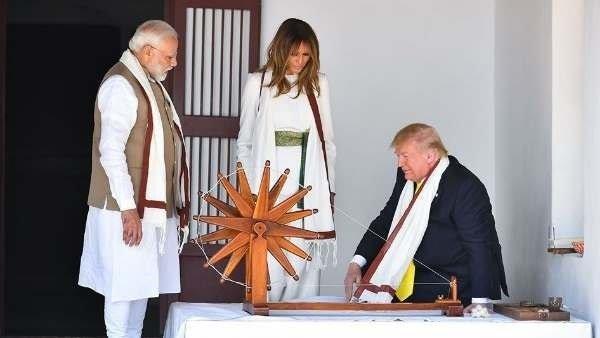 Trump In India: ટ્રમ્પ, મિલાનિયાએ સાબરમતી આશ્રમમાં ચરખો ચલાવ્યો, વિજિટર બુકમાં લખ્યો આ મેસેજ