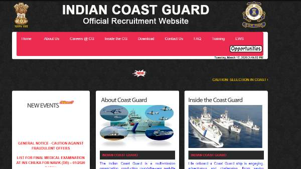 Navy Recruitment 2020 Bumper Recruitment At These Locations In The Indian Coast Guard