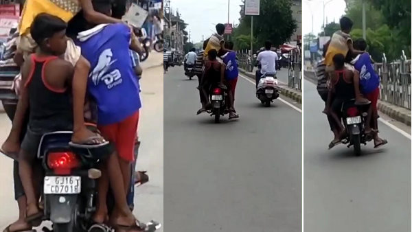 Video: પાંચ બાળકોને બેસાડીને બાઈક ફૂલ સ્પીડમાં ભગાવી, ઓવરટેક કરતો રહ્યો