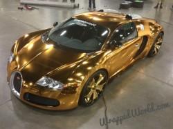 Flo Rida Metro Wrapz Gold Chrome Wrapped Bugatti Veyron