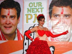 Actress Tanisha Singh Again Poses With Rahul Gandhi Poster 016028 Lse
