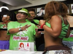 Porn Actress Breast Press The Stop Aids Campaign And Charity