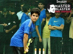 Smaaash Cricket Arjun Tendulkar Blasts 42 Ball 118 Sachin Happy