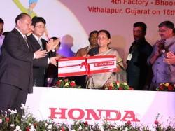 Gujarat Cm Lays Stone Honda Scooter Plant