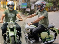 Spotted Mahendra Singh Dhoni Rides Green Bullet On Ranchi Streets
