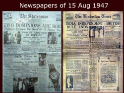 News Paper Front Pages On 15 August 1947 India