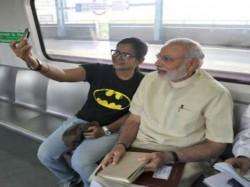 Pm Modi Ride Metro To Faridabad Passengers Click Selfies 027026 Pg