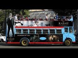After Kabali Plane Rajinikanth Now On Double Decker Bus