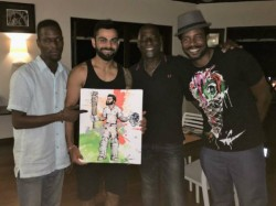Vivian Richards Son Mali Gifts Virat Kohli Painting Celebrate