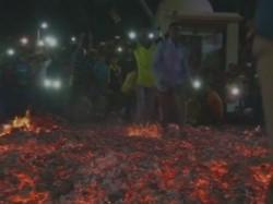 Gujarat Holika Dahan People In A Village Of Surat Walk On Fire Embers