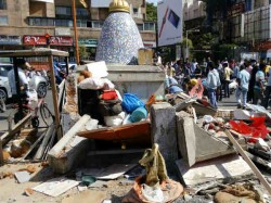 Municipal Corporation Bulldozer Demolishes Old Temple At Vas
