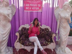 Voting Booths Reflect International Women Day Selfie Point Varanasi