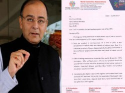 Morbi Ceramic Association Wrote Letter Arun Jaitley Regardi