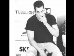 Salman Khan Viral Video Eating Own Jeans During Tubelight Pr