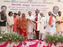 Chief Minister Vijay Rupani Give Blessings The 111 New Couple At Ahmedabad
