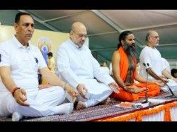 Yoga Day Celebrations At Ahmedabad With Baba Ramdev Amit Sha