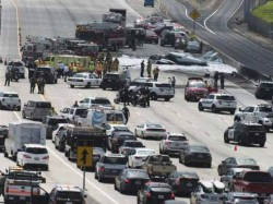 California Plan Crash On The Road Between Cars