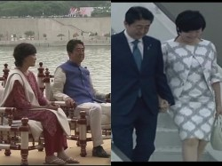Japan Pm Shinzo Abe His Wife Akie Abe Indian Wear During Roa
