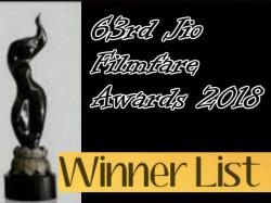 rd Jio Filmfare Awards 2018 Winners List