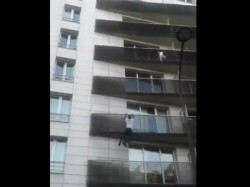 Video Watch Spiderman France Saves Child S Life Who Was About Fall From 4th Balcony