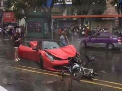 Woman Destroys Brand New Rs 4 5 Crore Ferrari Seconds After Driving It Out Of The Showroom