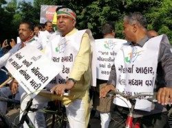 Opposition Congress Mlas Cycle Rally Against Inflation