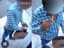 Uber Eats Delivery Boy Steals Food While Delivery Action Caught In Security System Camera