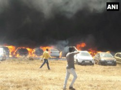 Aero India 2019 More Than 100 Cars Gutted Fire Near The Venue Of In Bengaluru
