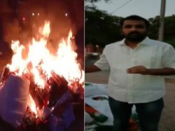 Hyderabad Congress Leader Krishank Sets Party Flags Election Campaign Material On Fire