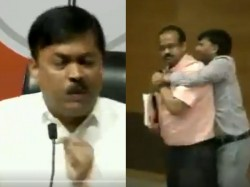 Delhi Shoe Hurled At Bjp Mp Gvl Narasimha Rao During A Press Conference At Bjp Head Quarter