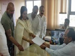 Congress Candidate From Mumbai North Central Seat Priya Dutt Files Nomination Sanjay Dutt Present