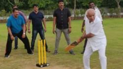 Bs Yeddyurappa Is Seen Playing Cricket With The Mla