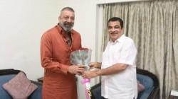 Actor Sanjay Dutt Meets With Nitin Gadkari