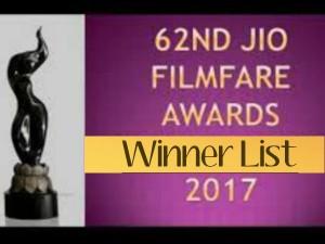 62nd Jio Filmfare Awards 2017 Winners List