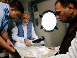 Narendra Modi Reached Ahmedabad Arial Survy Banaskantha