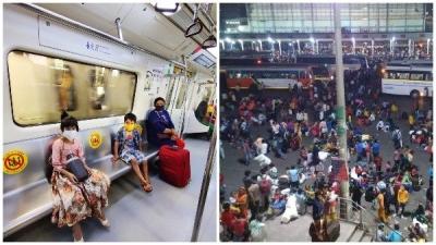 Delhi Lockdown: 5 મેટ્રો સ્ટેશન બંધ, પ્રવાસીઓનુ પલાયન ચાલુ